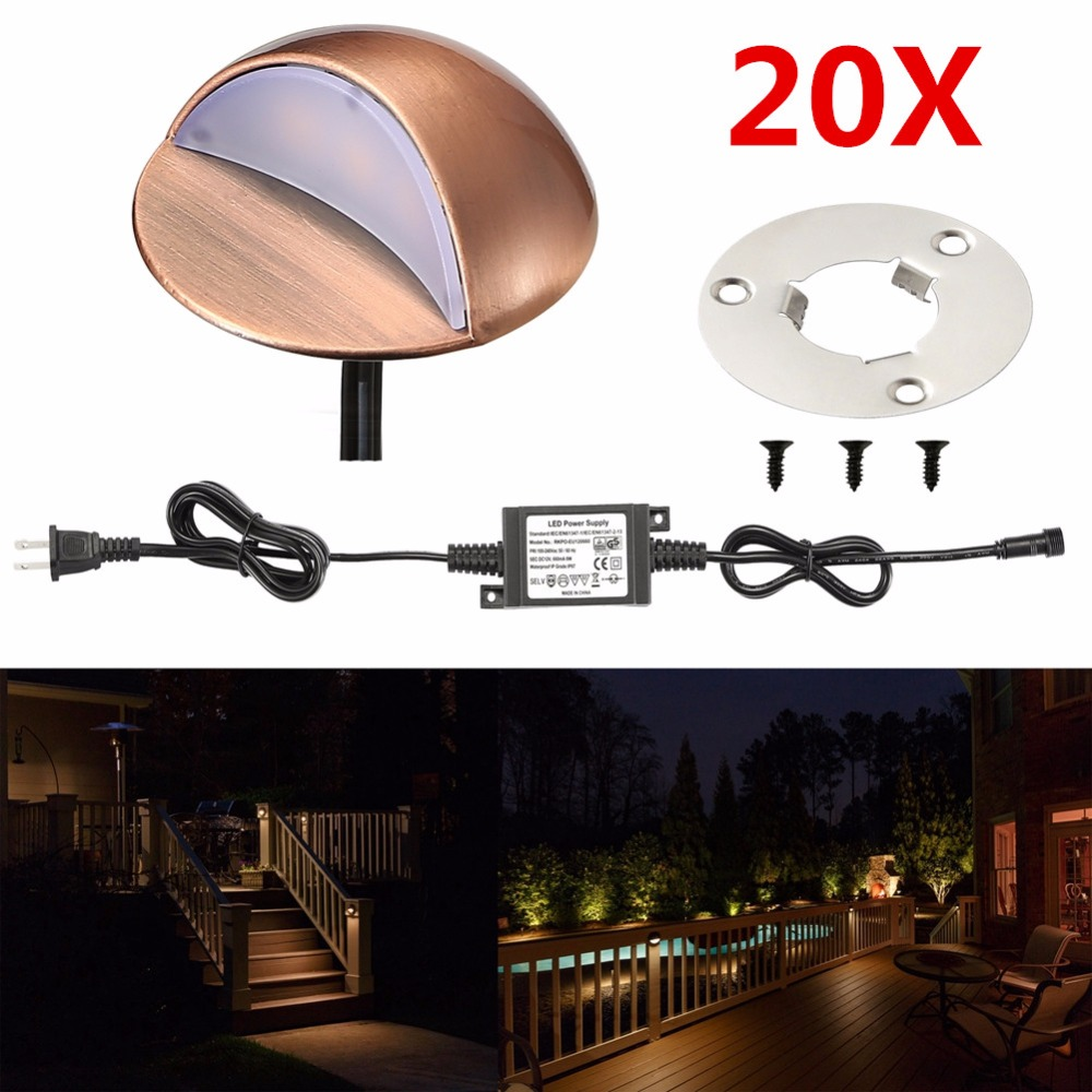 20Pcs 50mm 12V 1 6W IP67 Bronze Half Moon Outdoor Garden Yard Pathway Plinth Corner LED