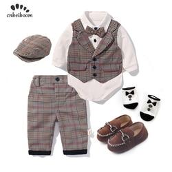 Комплект одежды для маленьких мальчиков, весна 2020, детский хлопковый клетчатый костюм из 5 предметов, вечерние костюмы на день рождения, под...