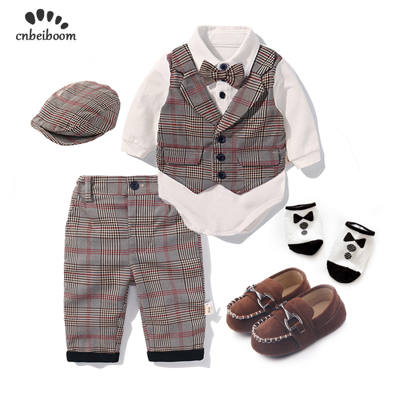 Toddler Boys Clothing Set 2019 Spring Baby cotton plaid Children Kid Clothes Suits 5pcs birthday Party Costume 1 2 3 Year Gift-in Clothing Sets from Mother & Kids