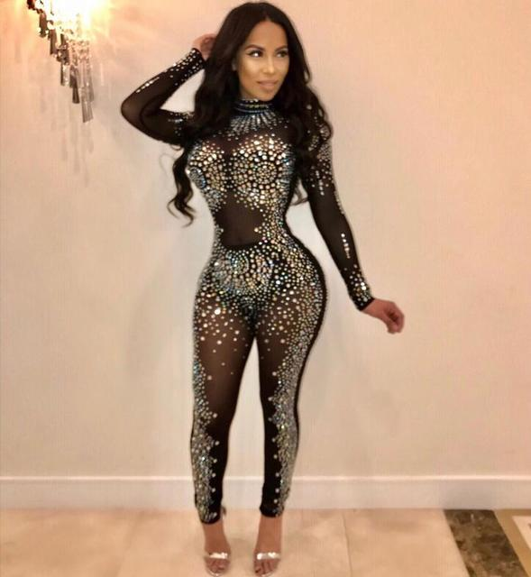 19604c80def Sparkly Rhinestones Sexy Party Jumpsuit Women Mesh Patchwork See Through  Bodycon Overall Elegant Long Sleeve Plus Size Romper