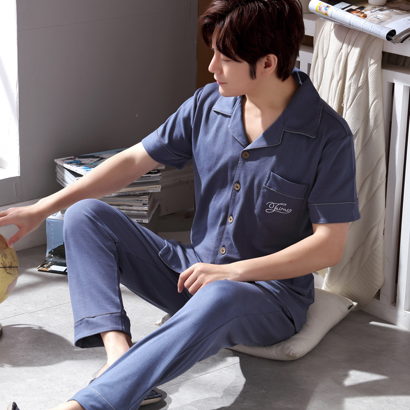 Summer Men's Pajamas Thin Knitted Cotton Mens Pyjama Sets Lounge Wear Comfortable Short Sleeve Male Sleepwear Homewear Men