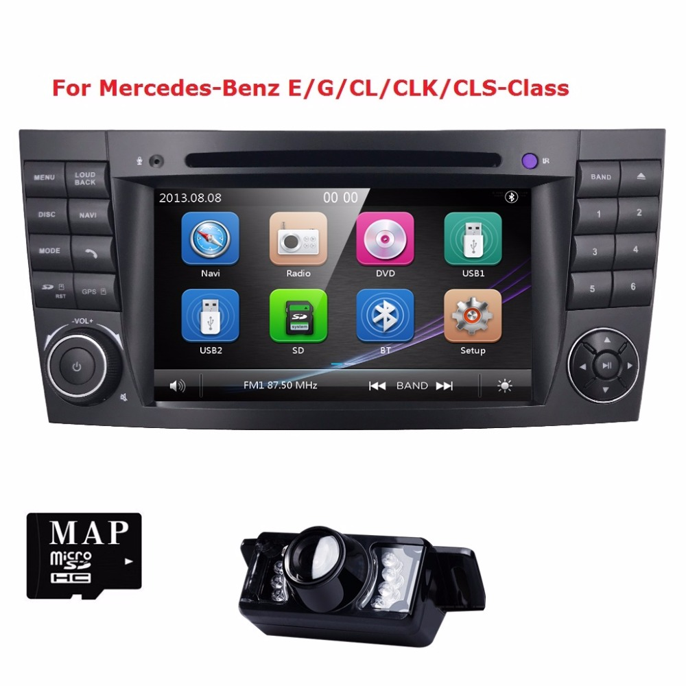 Two2 Din 7 Inch Car DVD Player For Mercedes/Benz/E-Class/W211/E200/E220/E300/E350 3G USB GPS Radio RDS SWC TV BT EQ MAP Rear CAM