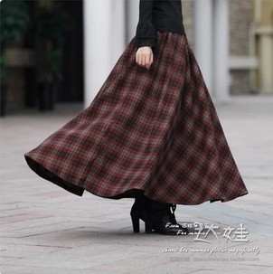 Aliexpress.com : Buy 2017 New Autumn Winter Women Plaid Long Skirt ...