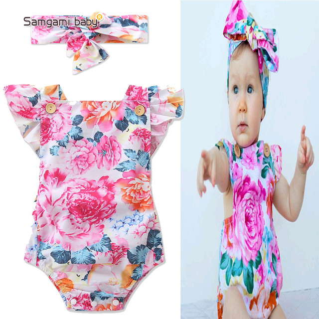 36177616f SAMGAMI BABY Summer Girl Sleeveless Rompers New Born Kids Clothing ...