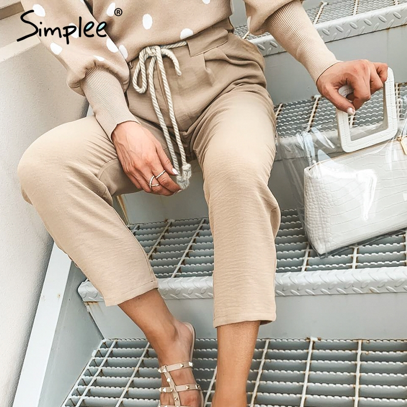 Simplee Casual Khaki Women Harem Pants Lace Up String Pleated Pocket Pants Capris Streetwear Solid Plus Size Pencil Work Pants