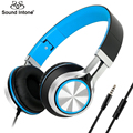 Sound intone hd200 com fio fones de ouvido com microfone dobrável leve fone de ouvido estéreo fones de ouvido para computador pc mp3 fone de ouvido