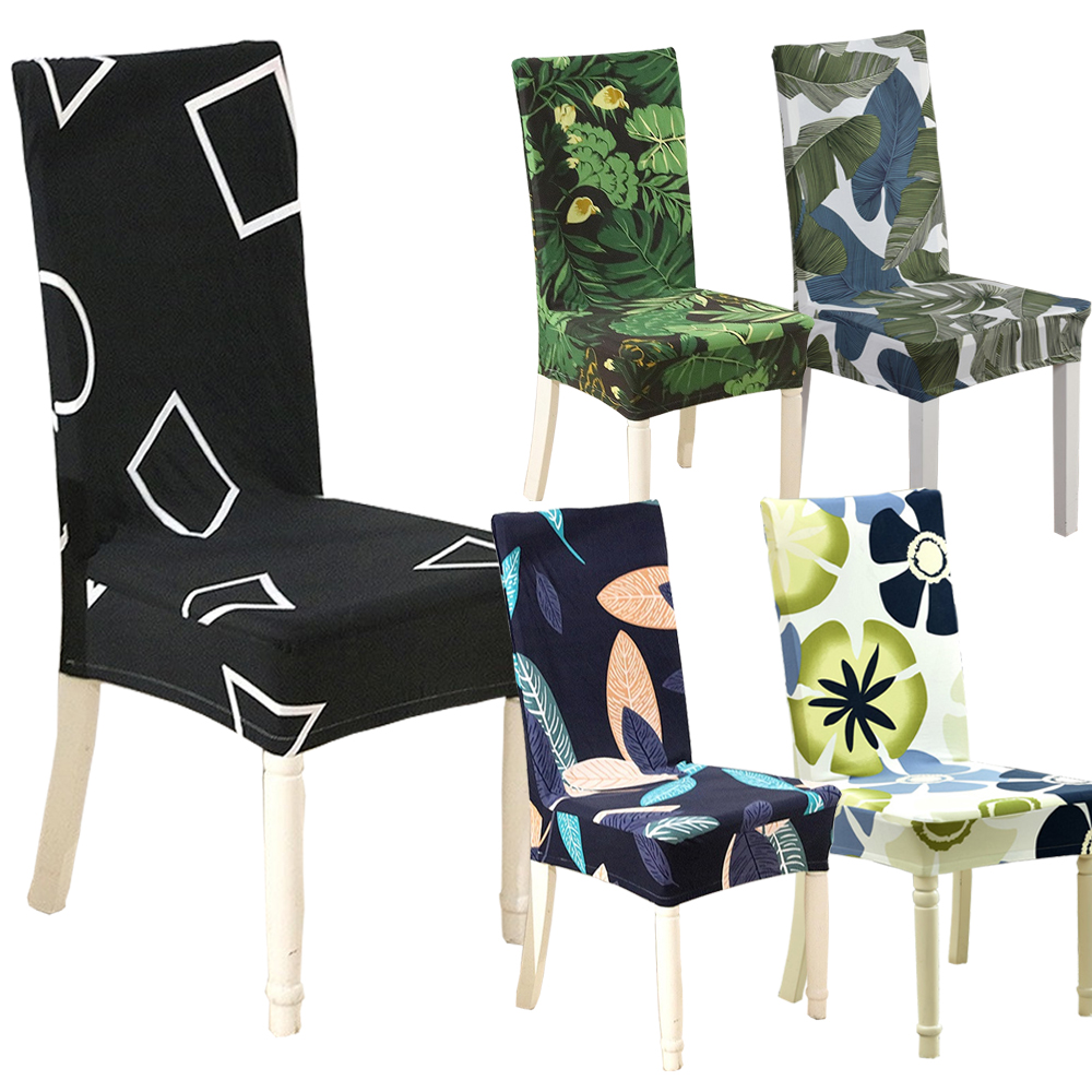 US $3.67 20% OFF|Floral Geometric Print Pattern Spandex Elastic Stretch  Slipcovers Dining Chair Cover Hotel Kitchen Seat Cover for Banquet-in Chair  ...