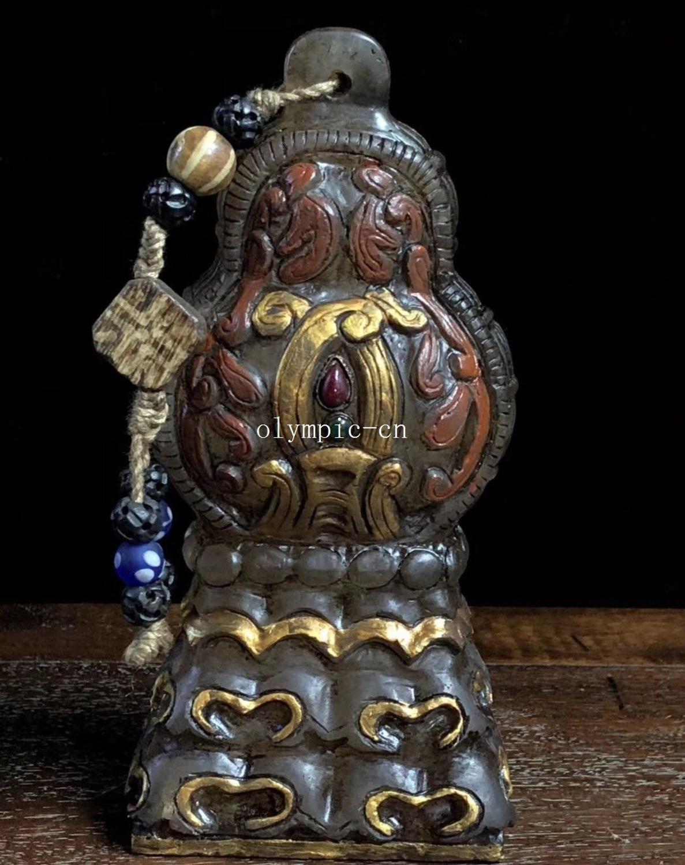 Sceau de bouddhisme tibétain avec incrustation de Quartz