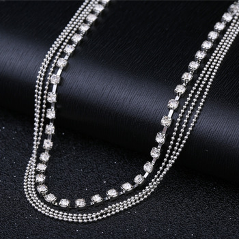 Women's Multi-layer alloy Chain Rhinestone Crystal Anklet Foot Chain 4