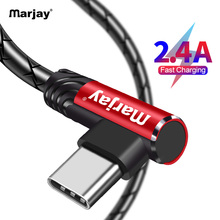 Marjay USB Type C Cable 90 Degree 2.4A Fast Charging Data Type-C For Samsung S8 S9 S10 Xiaomi mi9 Huawei P30 Pro