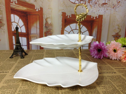 2 tier ceramic cake stand china fruit plate pan dessert fashion birthday tools - Linda's lovely items store