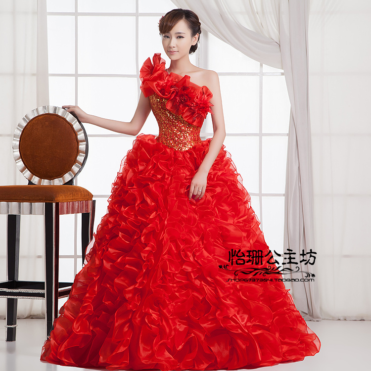 Image 2 - Quinceanera Dresses Princess Red/Green Flower One Shoulder  Sleeveless Ball Gown Lace up Floor Length Organza quinceanera  ruhaQuinceanera Dresses