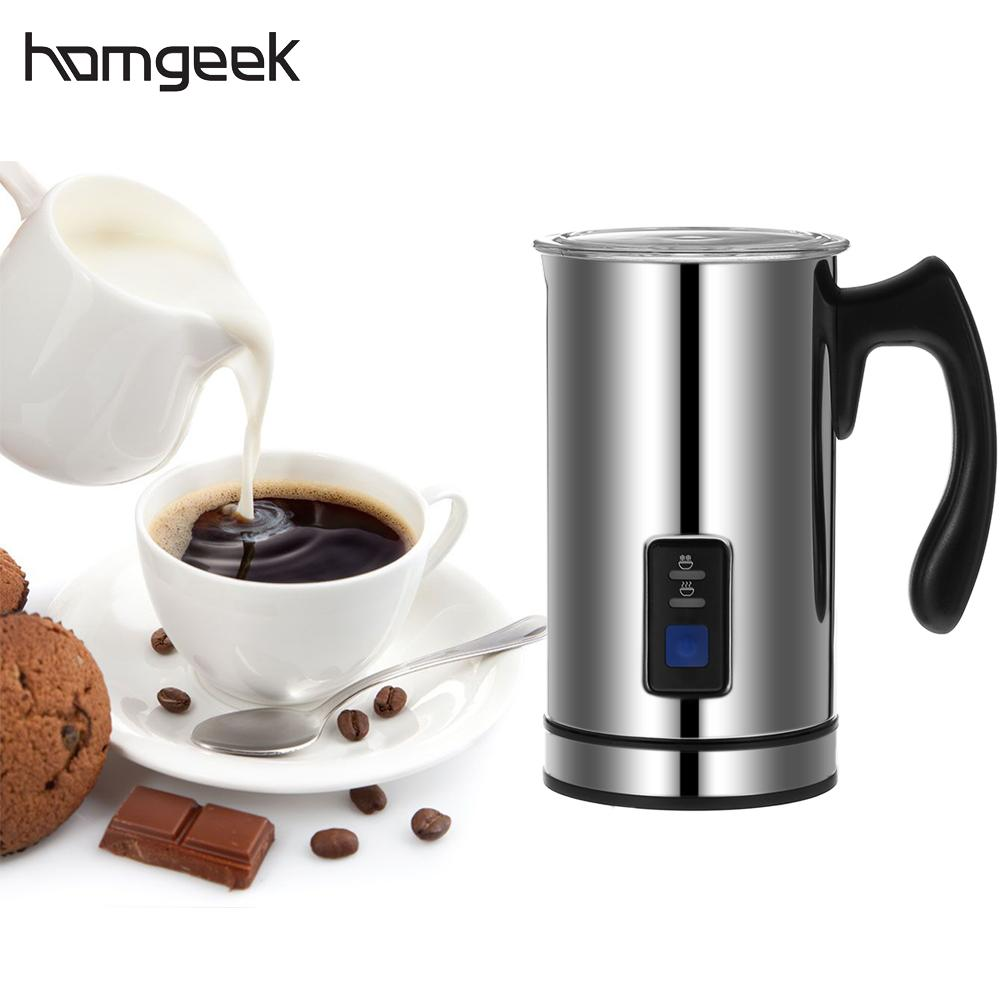 Homgeek Stainless Steel Electric Milk Frother 220V Foamer Frothing Milk Warmer Foam Coffee Machine Latte Cappuccino Bubble Maker eupa stainless steel 500ml espresso coffee latte art cylinder pitcher barista craft latte milk frothing jug household