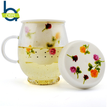 OBR Glass Ceramic Flower Tea Mugs Infusers Teapot With Filter And Lid
