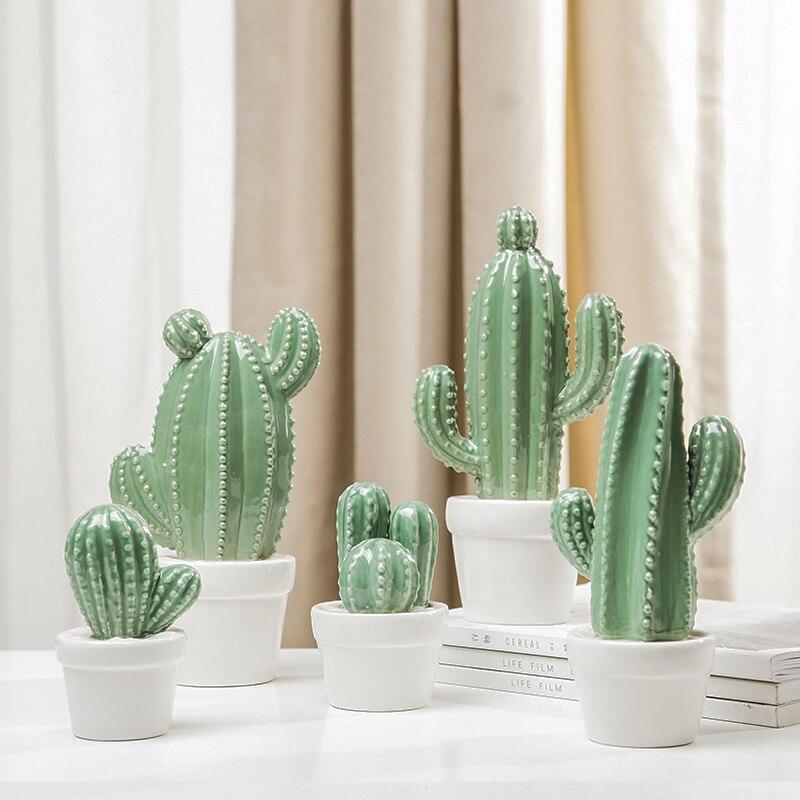 Cerámica Artificial Succulents Cactus plantas bonsai desierto Artificial planta para jardín Mesa decoración para el hogar Toggery y tienda