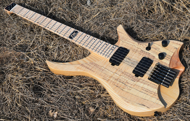 2019 NK Headless Electric guitar clear spalted curly maple top Flame Maple Neck black hardware Guitar free shipping 3