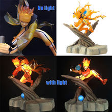 สองรุ่นอะนิเมะ Uzumaki Naruto celestial Nine tails mode action figure แฟลช led light หรือ light toy figurine(China)