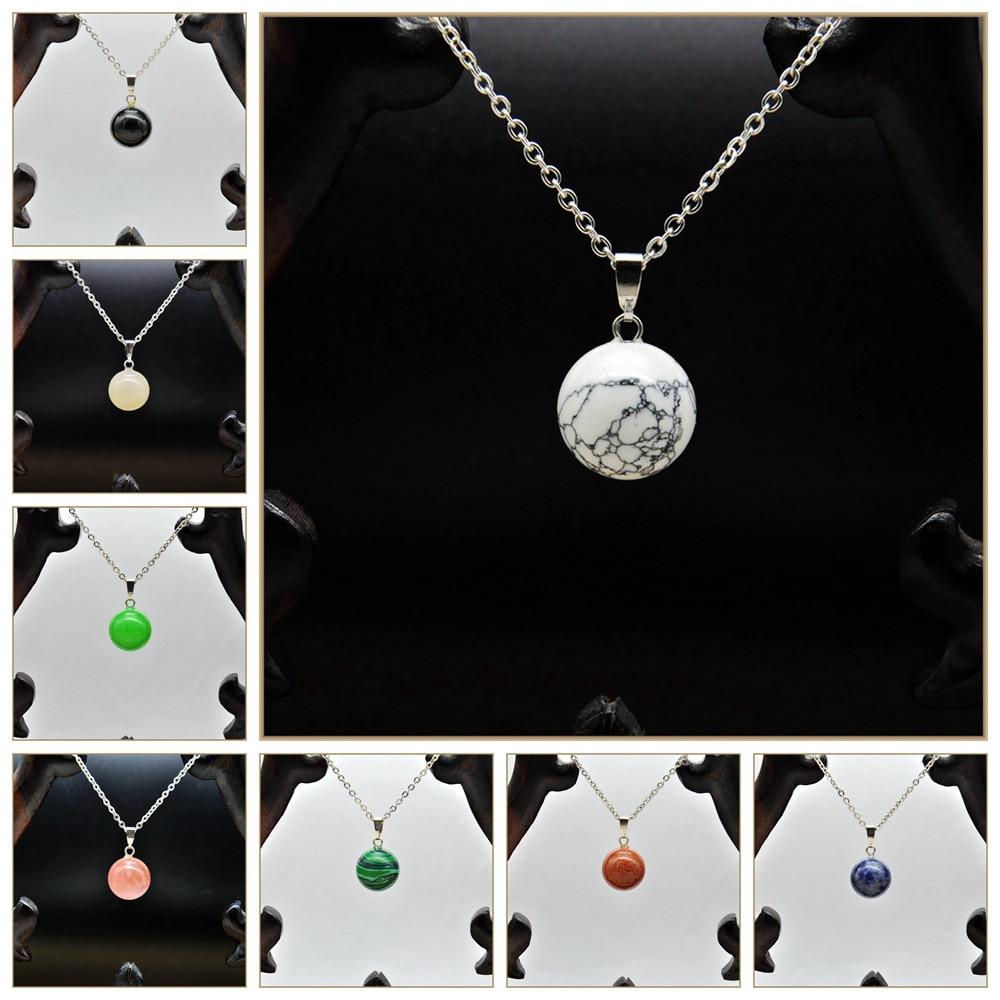 Yumten Natural Crystal Necklace Pendant Gourd Natural Topaz Stone Round Bead Turmalina Negra Obsidian Perles Natural Stone Bead