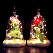 Moobesid Beauty and the Beast Red Rose in Glass Dome Wooden Base With LED Light Valentine's Day Gift Decoration