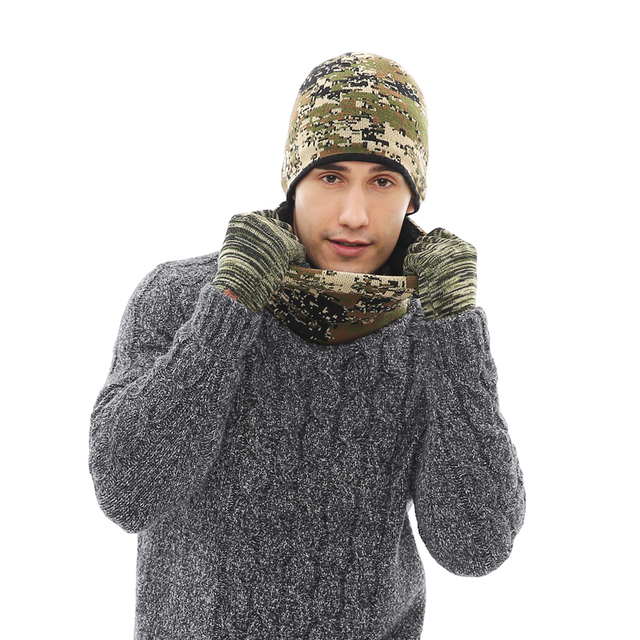 257a864ed5e 2018 Men Women Winter Hats Scarves Gloves Set Brand 3pcs Thick Knitted Hat  Scarf For Male Female Beanies Accessories Camouflage