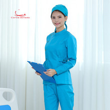 Nurses wear split suit women long sleeve lake blue collar thick beauty tattoo artist oral and dental uniform