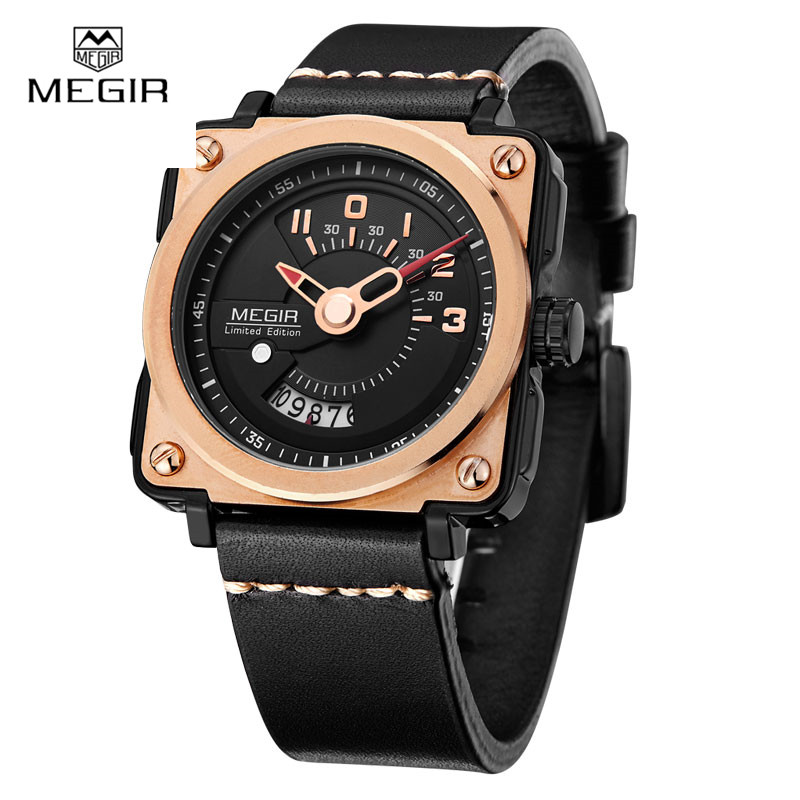 2017 New Megir Unique Design Square Dial Watches Mens Leather Business Sport Watch Date Famous Brand Limited Edition Mens Watch segal business writing using word processing ibm wordstar edition pr only