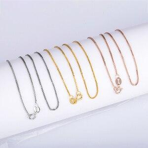 Image 4 - Prawdziwy 18 karatowy złoty łańcuszek naszyjnik 18 cali au750 naszyjnik dla kobiet, różany złoty biały złoty żółty złoty łańcuszek naszyjnik biżuteria prezent