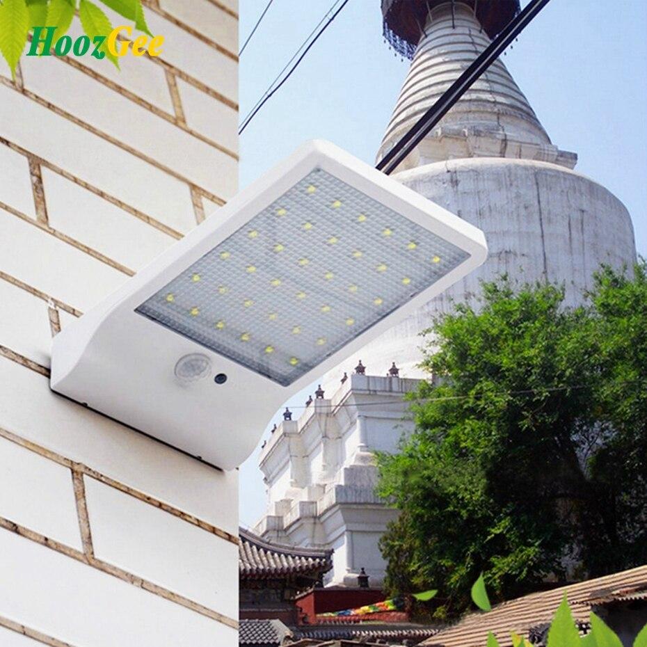 HoozGee Wand Licht 450LM Wasserdicht 36 LED Solar Power Straße Lichter PIR Motion Sensor Lampe Outdoor Garten Terrasse Sicherheit Lampen