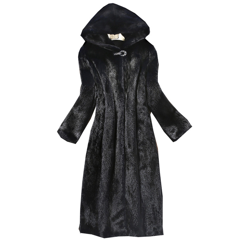 S-6XL New Fashion Furry Coat womens Hooded Overcoat high imitation mink Fur Coat womens Mink Fur Coat Winter Women Clothing