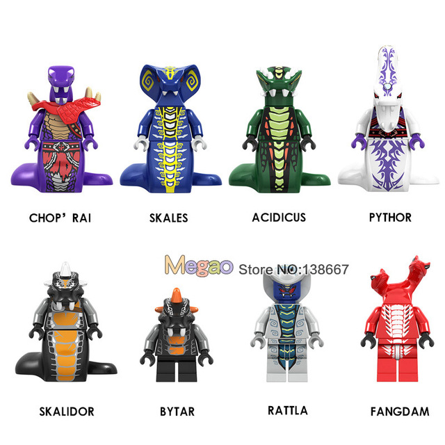 Legoings Ninjagoes Cobra Figuras Skales Pythor Garmadon com Arma Bytar Rattla Samukai Ninja Building Blocks Brinquedos para Crianças