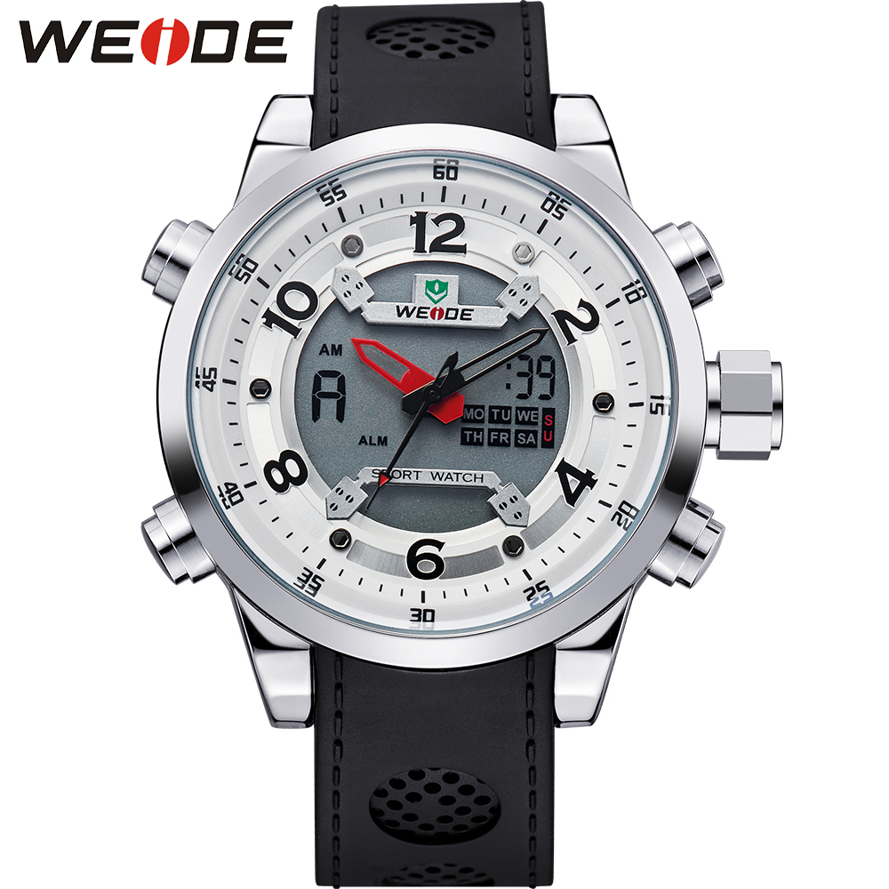 все цены на WEIDE Luxury Brand Men's Sports Cheap Watches Waterproof Quartz Date Clock Stopwatches Army Military Relogio Masculino