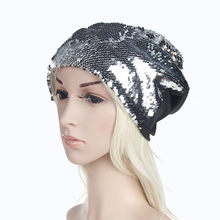 New 2018 Summer Fashion Women Men Sequins Knit Crochet Ski Hat Braided Turban Headdress Cap(China)