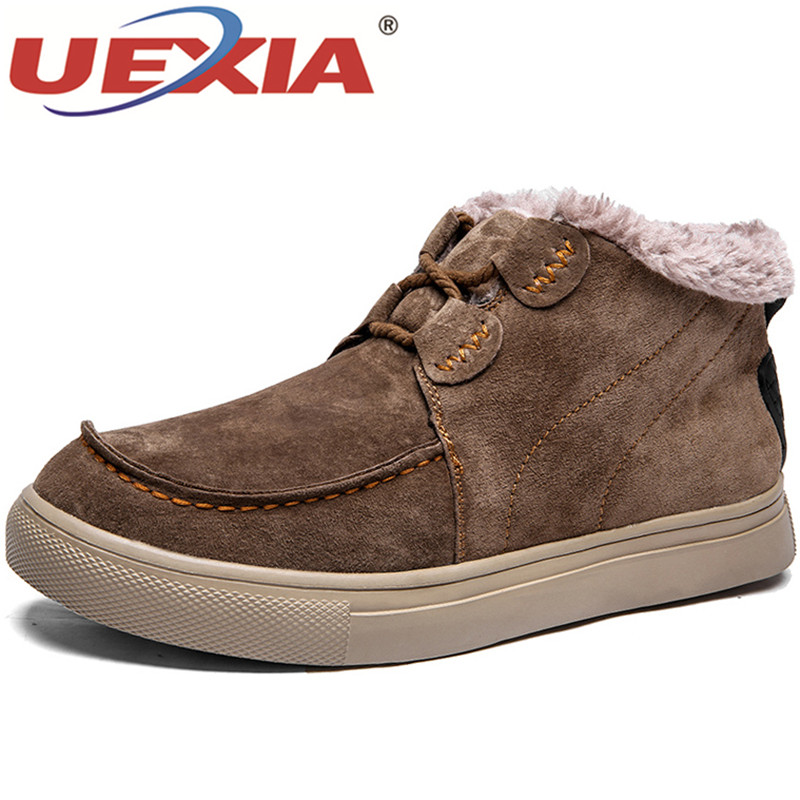 UEXIA New Men Boots Men Shoes Winter Snow Boots Warm Fur&Plush Lace Up High Top Fashion Casual Ankle Boots Suede Leather Flats new high quality casual boots men leather flats lace up men ankle boots winter autumn men s shoes casual short boots fashion