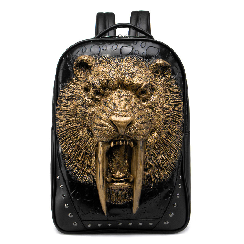3D Animal Leather Backpack Fashion Men Cool Shoulder Bags for Teenage Girls PU Laptop School bags Rivets Halloween Bags 2018