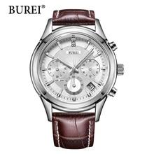 BUREI Relojes de Los Hombres de Primeras Marcas de Moda Lente de Plata Correa de Cuero Hombre Reloj Multifunción Resistente Al Agua Relojes de pulsera de Cuarzo de La Venta Caliente