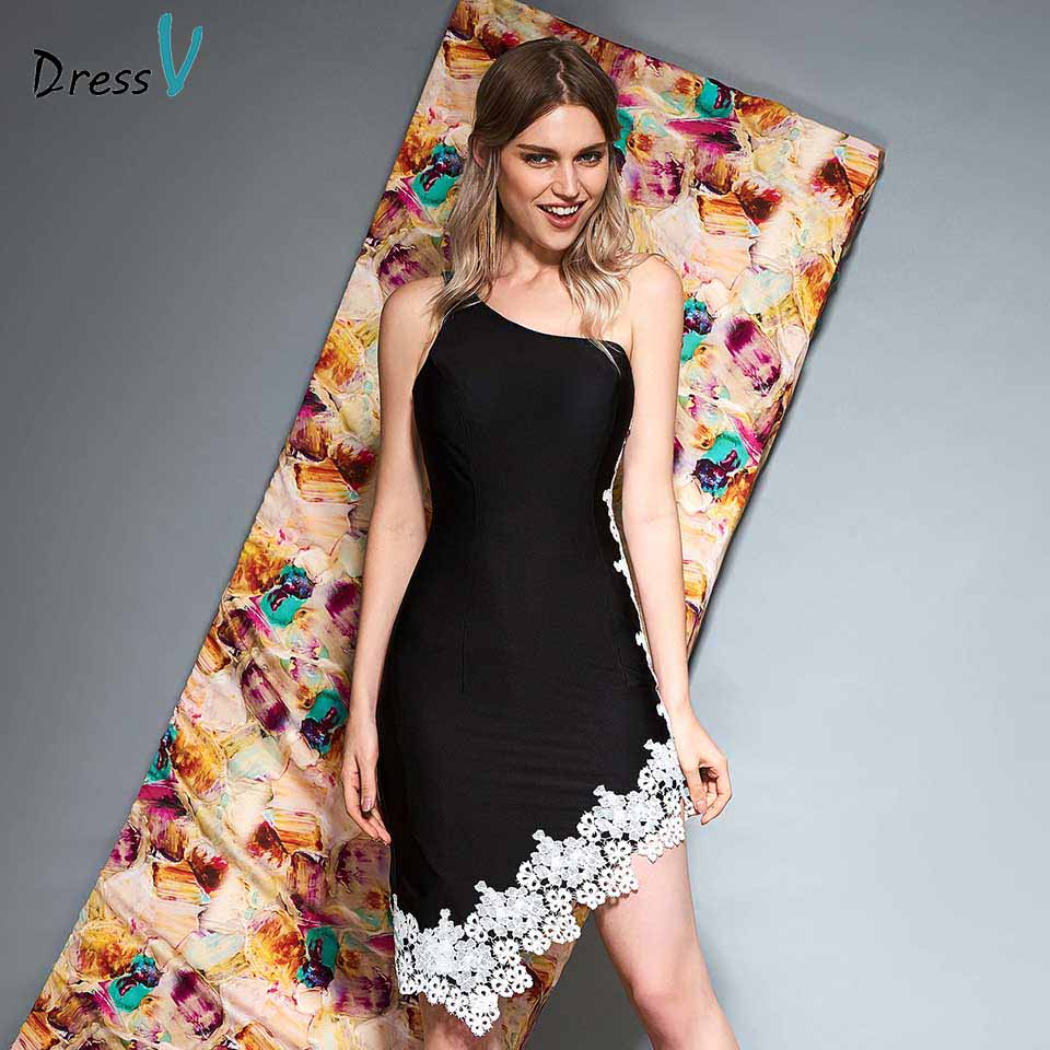 Dressv black one shoulder   cocktail     dress   sheath lace sleeveless wedding party evening formal   dress     cocktail     dresses