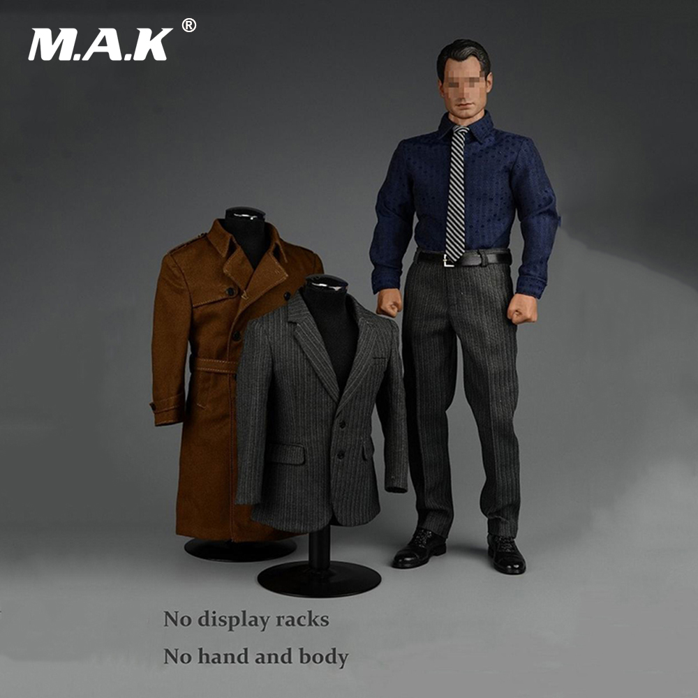 1/6 Male Clothes Strong Gentleman Suit Overcoat jacket+shirt+Khaki Windbreaker+Trousers+shoes Clothing for 12 '' Figure Body 1 6 scale male clothes suit leather jacket men s jacket suit model for 12 action figure body accessories