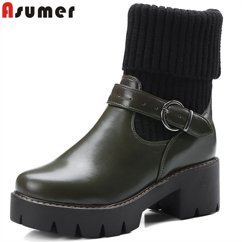 ASUMER black fashion ankle boots for women round toe buckle platform boots thick high heels ladies prom boots big size 34-43