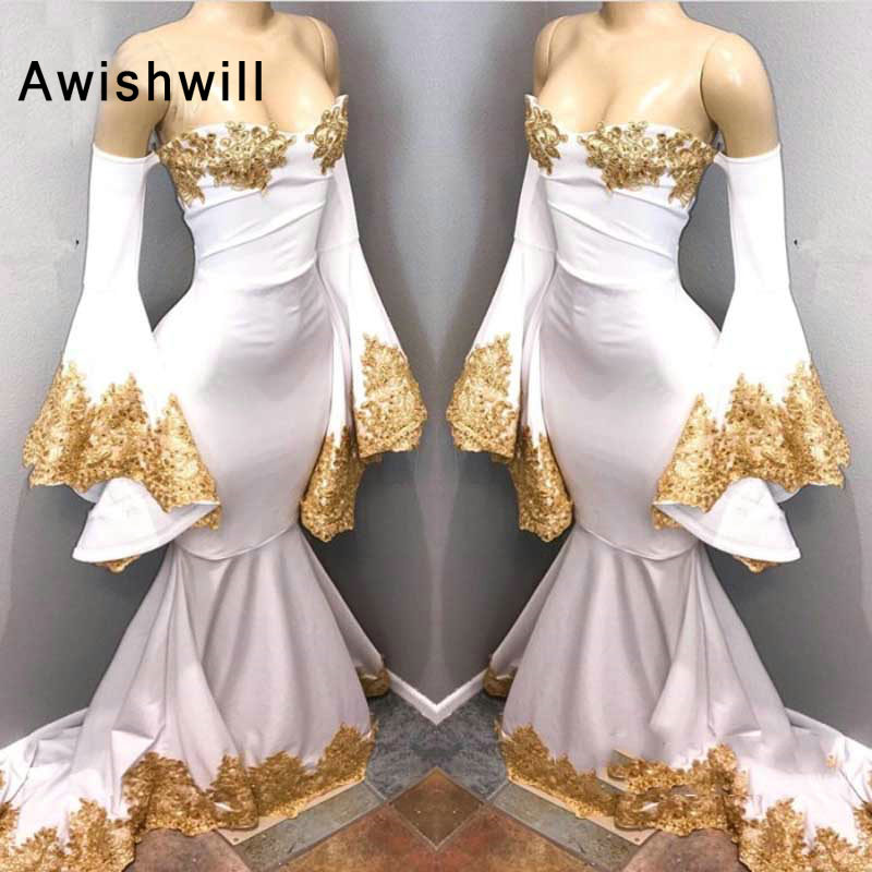 Arabic Long Mermaid Evening   Dresses   With Flare Sleeves Evening Gowns Off The Shoulder Gold Appliques Sexy Women   Prom     Dress