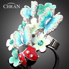 CHRAN Gold Color Ladybug Design Zircon Jewelry Rings Wholesale Crystal Enamel Butterfly Pattern Flower For Women