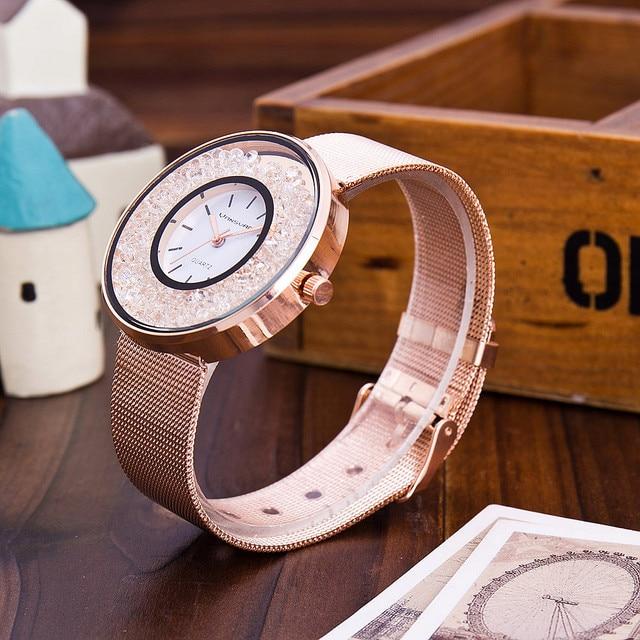 Hot Sale Fashion Stainless Steel Rose Gold & Silver Band Quartz Watch Luxury Women Rhinestone Watches Valentine Gift 5