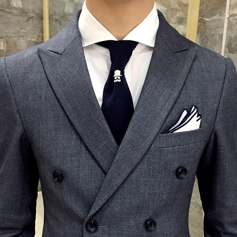 Chaqueta + Pantalones/hombres marca de lujo Formal Casual Delgado Formal traje de negocios macho Blazer novio trajes de boda gris y negro-in Trajes from Ropa de hombre    3