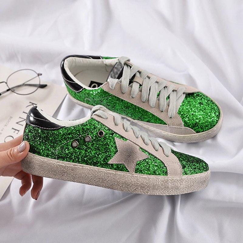 Casual Rétro Glitter Bling Pour Dames Black Designer Femme Femmes Paillettes silver Plate Vintage Gnome forme green Appartements Chaussures Sneakers OB7zwBZn