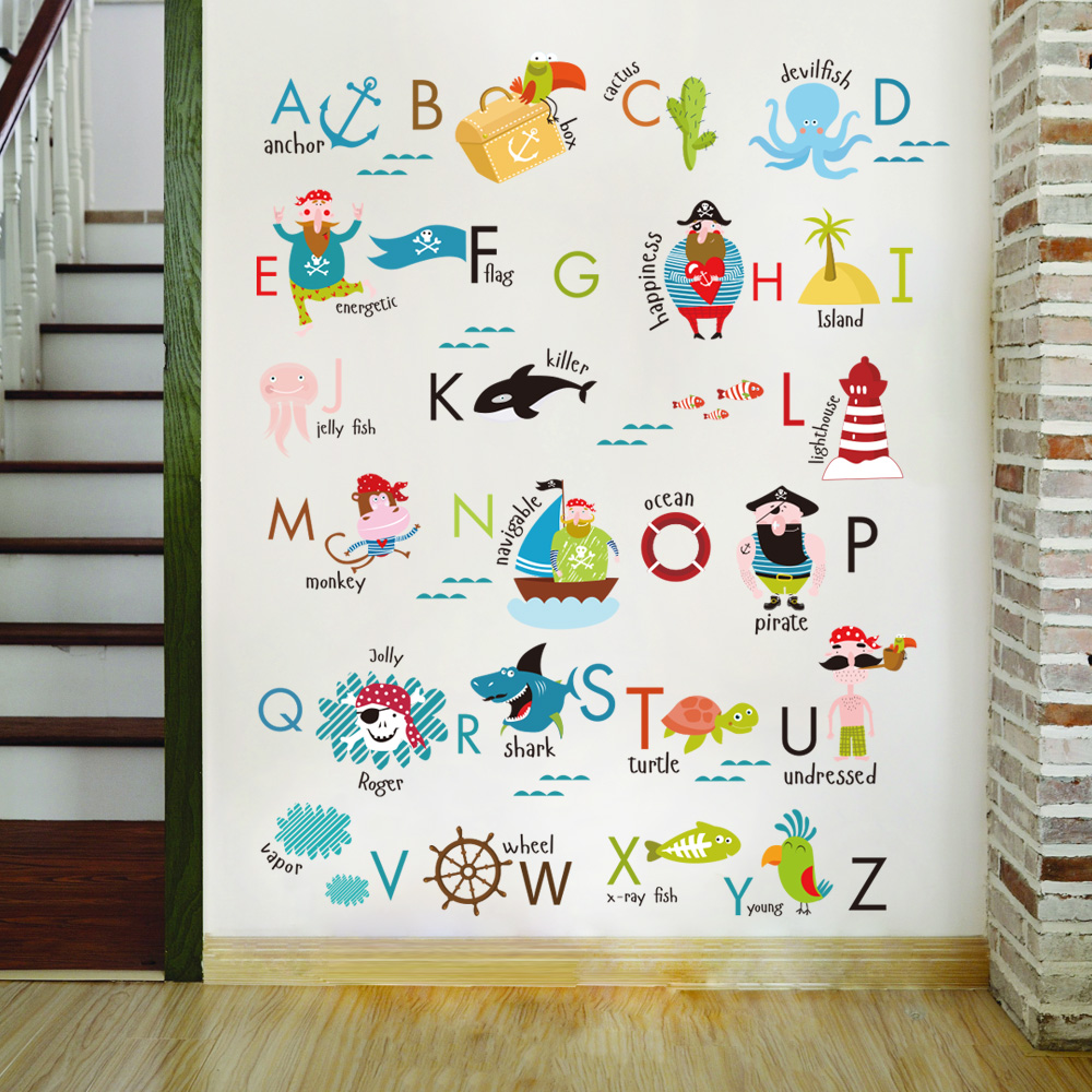 US $7.62 15% OFF|Letter baby bedroom wall stickers Child learning wall  sticker for kids room stickers baby boy girl room decor 2018 new style-in  Wall ...