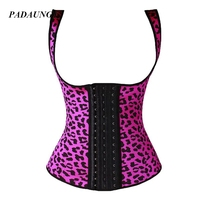 PADAUNGY Latex Waist Cinchers Leopard Waist Trainer Slimming Tank Tops Belly Sheath Rubber Corsets Bustiers Underbust