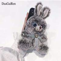 DuaGaiRen 3D 럭셔리 블링 다이아몬드 토끼 모피 전화