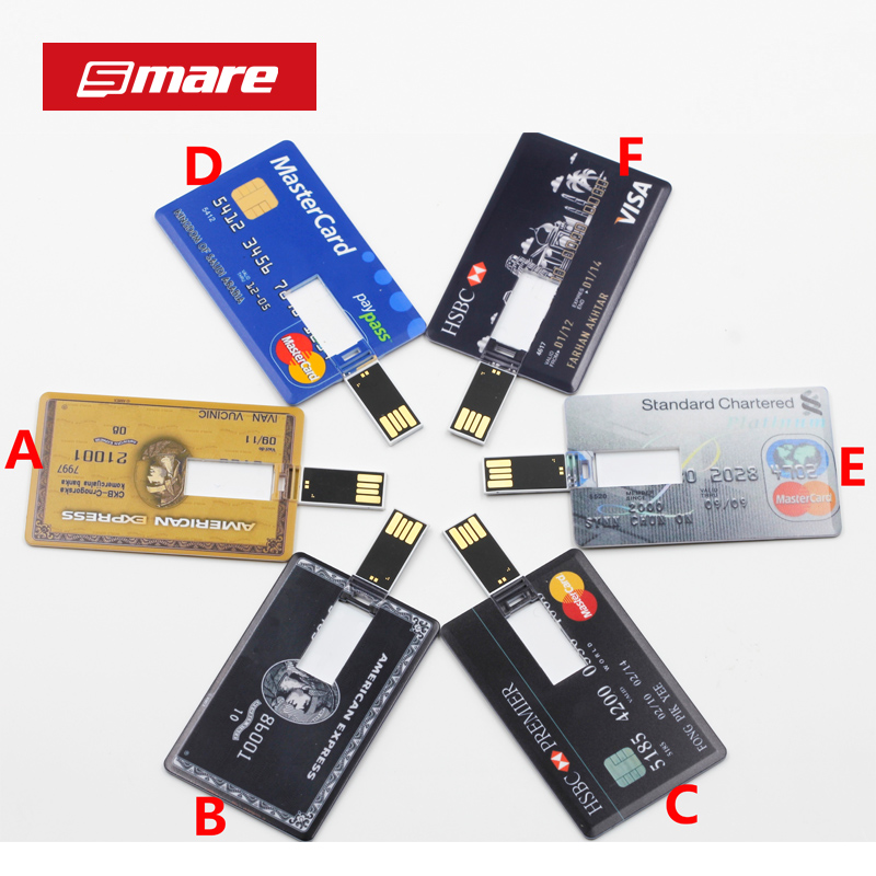 SMARE Credit Card USB Flash Drive customized Pen drive pendrive personalized as your logo photo design pendrive image