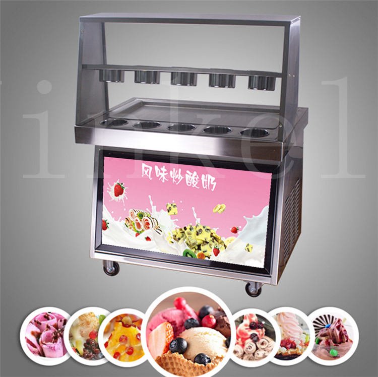 JKL Best quality CE approved 110v 220v double pan 10 buckets double compressor fry ice pan machine fried ice cream roll machine best quality double sortie12v 24v 150w