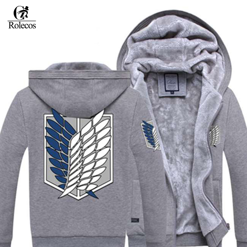 Rolecos Anime Shingeki No Kyojin Cosplay Thick Hoodies Attack On Titan Cosplay Custome Unisex Sportswear Hoodies