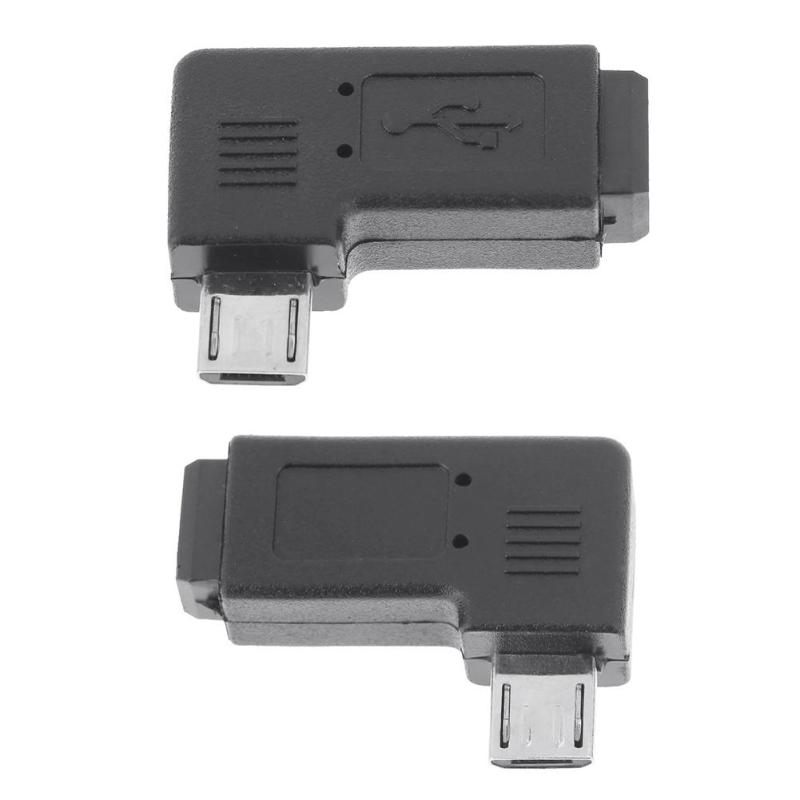 Right Left 90 Degree Micro Mini USB Connector Adapter, Mini USB Female to Micro USB Male Adapter Straight L Shape Connector